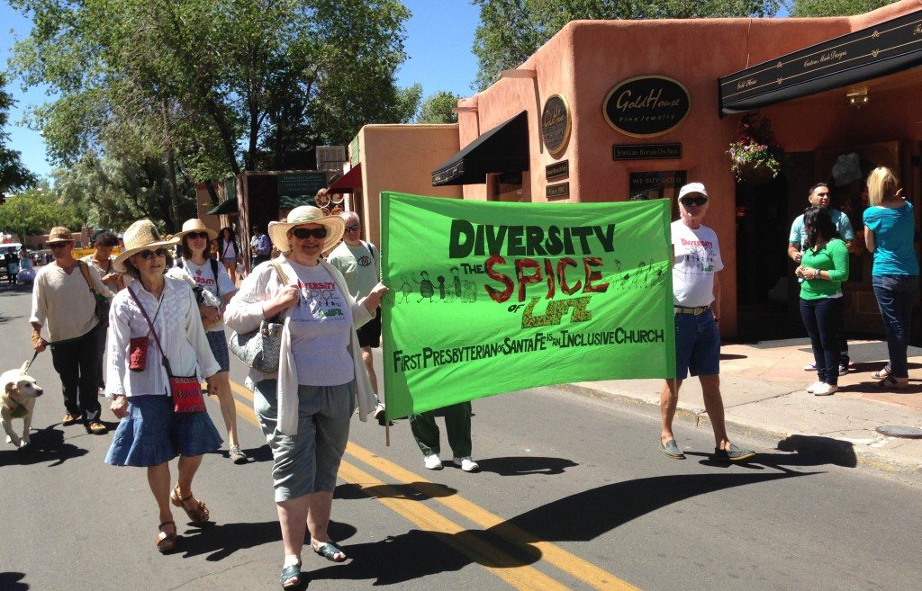Diversity Group on Street in Santa Fe